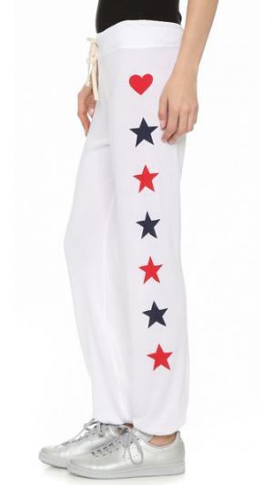 Спортивные брюки с фигурками по бокам SUNDRY. Цвет: белый