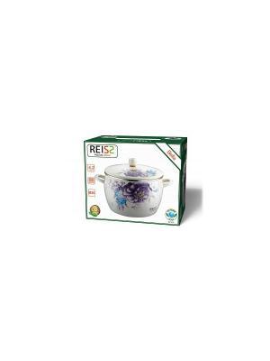 Кастрюля эмаль (газ/электро) 4,2л Reisz. Цвет: белый, сиреневый