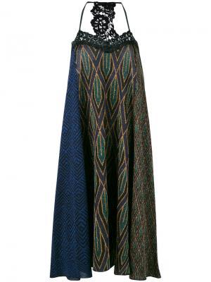 Платье с люрексом и кружевом Circus Hotel. Цвет: синий