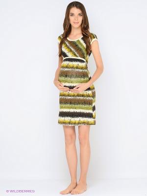 Ночная сорочка для беременных и кормления 40 недель. Цвет: зеленый, молочный