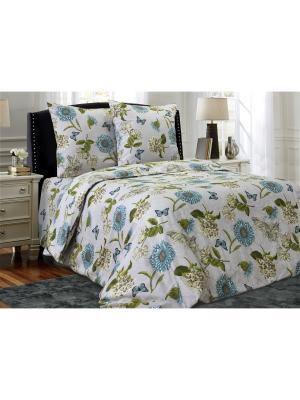 Комплект постельного белья Блакiт. Цвет: зеленый, светло-серый, серо-голубой