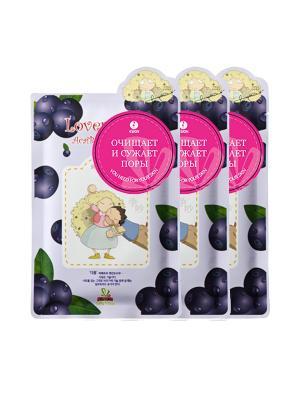 Маска для лица SALLYS BOX с экстрактом ягоды аcаи, 3 шт. Sally's. Цвет: фиолетовый