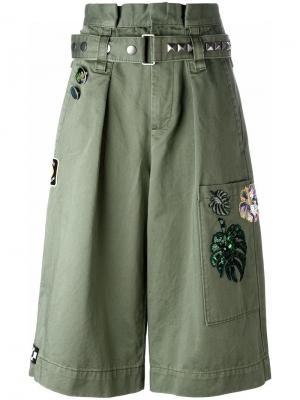 Шорты-карго с вышивкой Marc Jacobs. Цвет: зелёный
