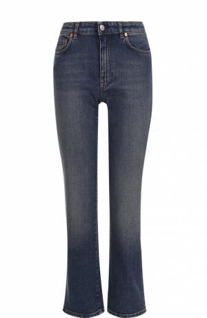 Укороченные джинсы с потертостями Acne Studios. Цвет: голубой