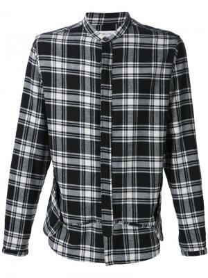 Рубашка в клетку с воротником-стойкой Mr. Completely. Цвет: чёрный