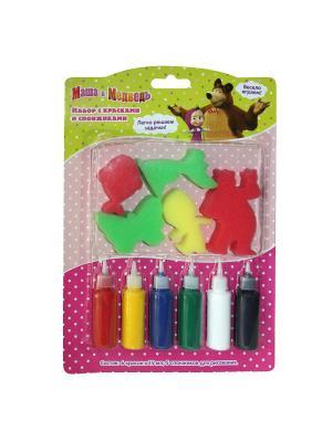Набор с красками и спонжиками,  Маша Медведь. Цвет: зеленый