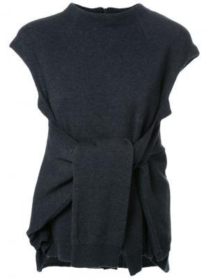 Трикотажная блузка с узлом Fad Three. Цвет: серый