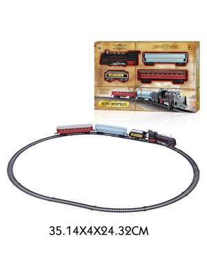 Железная дорога Ретро  Экспресс, свет,звук, паровоз, 3 вагона, 16 деталей, длина путей 85,5х67,5 см 1Toy. Цвет: серый