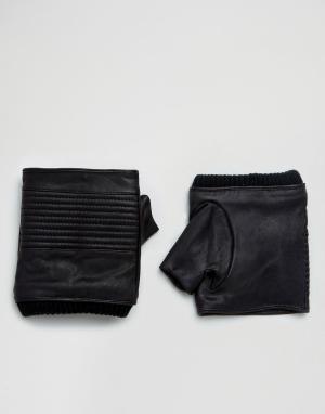 ASOS Кожаные черные перчатки без пальцев. Цвет: черный