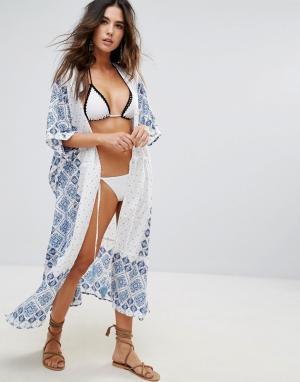 Anmol Пляжное кимоно с принтом. Цвет: белый