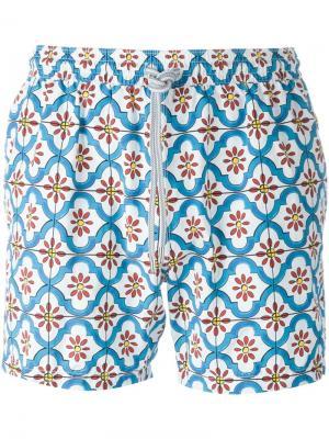 Плавательные шорты с цветочным принтом Capricode. Цвет: синий