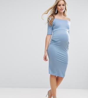 ASOS Maternity Платье с открытыми плечами для беременных. Цвет: синий