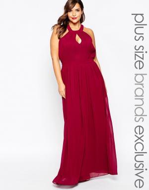 Truly You Платье макси с глубоким вырезом капелькой. Цвет: красный