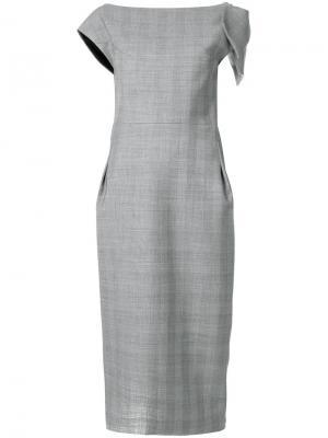 Платье-футляр в клетку с бантом Maticevski. Цвет: серый