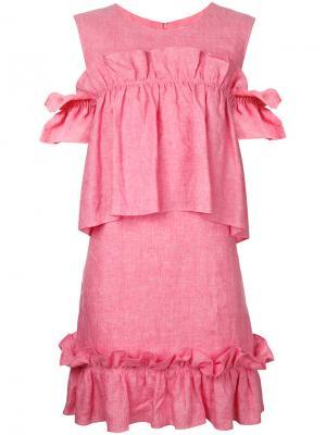 Платье с оборками Goen.J. Цвет: розовый и фиолетовый