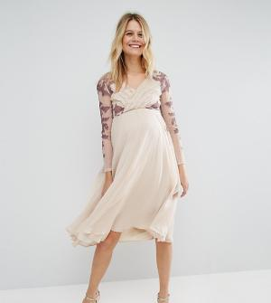 ASOS Maternity Плиссированное платье миди для беременных с кружевной отделкой Ma. Цвет: мульти