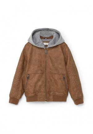 Куртка Mango Kids. Цвет: коричневый