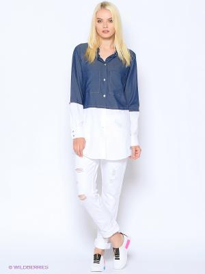 Рубашка &Berries. Цвет: синий, белый
