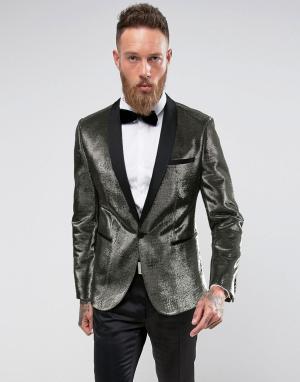 ASOS Золотистый приталенный пиджак. Цвет: золотой