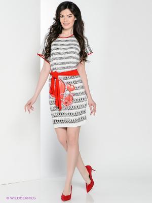 Платье Hammond. Цвет: молочный, красный