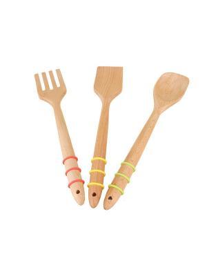 Набор кухонных принадлежностей, 3 предм. Elff Ceramics. Цвет: желтый, зеленый, красный