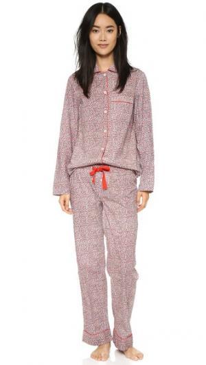 Хлопковая пижама Jamie Three J NYC. Цвет: красная фея с цветочной белой отделкой