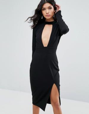 Club L Платье миди с длинными рукавами и горловиной-чокер. Цвет: белый