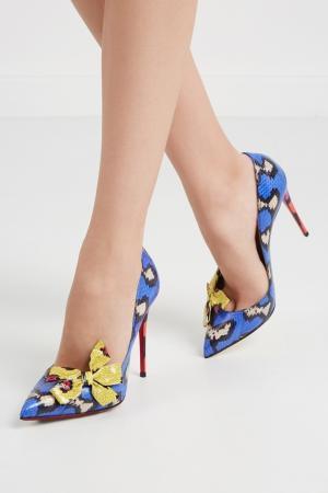 Туфли из кожи змеи Madame Menodo 100 Christian Louboutin. Цвет: синий, желтый