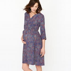 Платье для периода беременности, рукава 3/4, с принтом R essentiel. Цвет: рисунок/синий фон