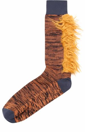 Хлопковые носки с декоративной отделкой Marni. Цвет: коричневый