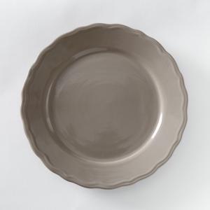 4 тарелки плоские с отделкой фестоном, Ajila La Redoute Interieurs. Цвет: белый,серо-коричневый