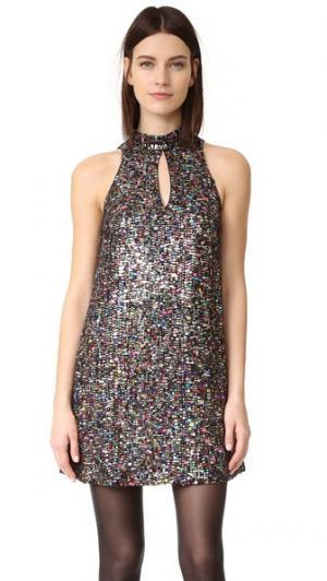Свободное платье с воротником-стойкой, расшитое блестками Cynthia Rowley. Цвет: мульти