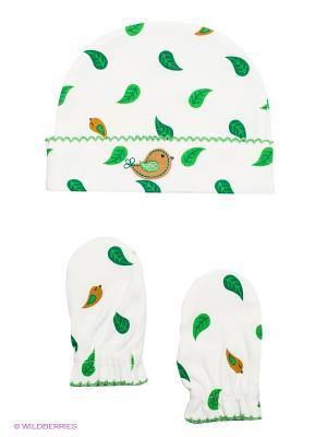 Комплект из шапочки и рукавичек HappyBabyDays. Цвет: зеленый, белый