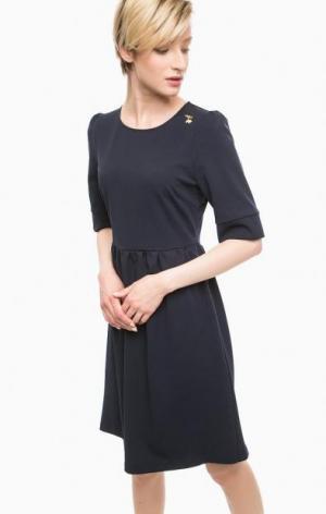 Синее платье с короткими рукавами POIS. Цвет: синий