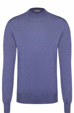 Джемпер с круглым вырезом из смеси кашемира и шелка Cruciani. Цвет: голубой