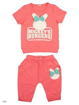 Комплект: футболка и шорты Sago Kids i Ant Domain. Цвет: розовый, белый