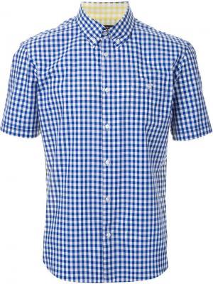 Двухцветная рубашка в клетку Loveless. Цвет: синий