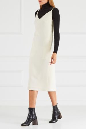 Шерстяное платье Chapurin. Цвет: белый