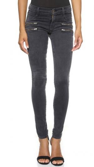 Джинсы-скинни Crux с двойными молниями спереди от Twiggy James Jeans. Цвет: сланец