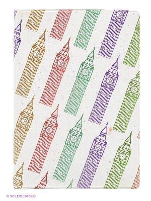 Обложка для паспорта Биг-Бены на молочном Mitya Veselkov. Цвет: светло-бежевый, зеленый, фиолетовый
