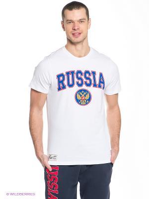 Футболка Russia Atributika & Club. Цвет: белый, синий