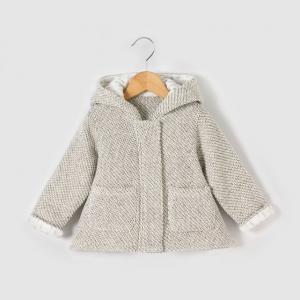 Пальто с капюшоном, 1 мес. - 3 года R mini. Цвет: серый меланж
