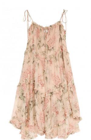 Приталенное шелковое платье-миди с принтом Zimmermann. Цвет: розовый