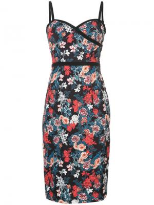 Rose print fitted dress Black Halo. Цвет: чёрный