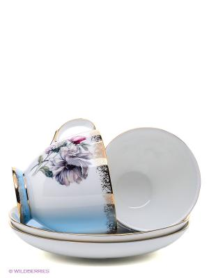 Чайный набор Цветок Неаполя Pavone. Цвет: белый, голубой