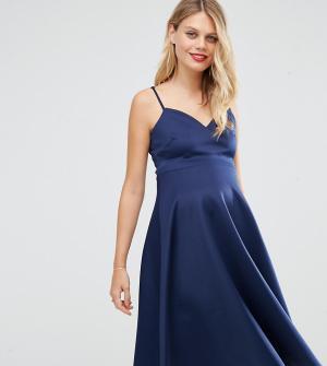 ASOS Maternity Платье миди для беременных. Цвет: темно-синий