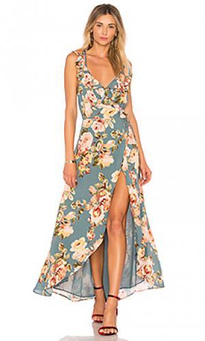 Платье-миди с запахом и цветочным принтом fillmore Privacy Please. Цвет: серовато-зеленый