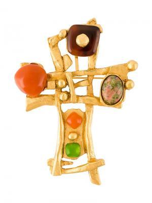 Брошь в виде креста Christian Lacroix Vintage. Цвет: металлический