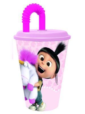 Стакан пластиковый с соломинкой и крышкой (спортивный, 430 мл). Флуффи Stor. Цвет: белый, розовый