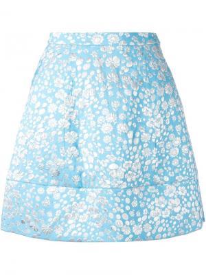 Юбка А-силуэта с цветочным принтом Delpozo. Цвет: синий